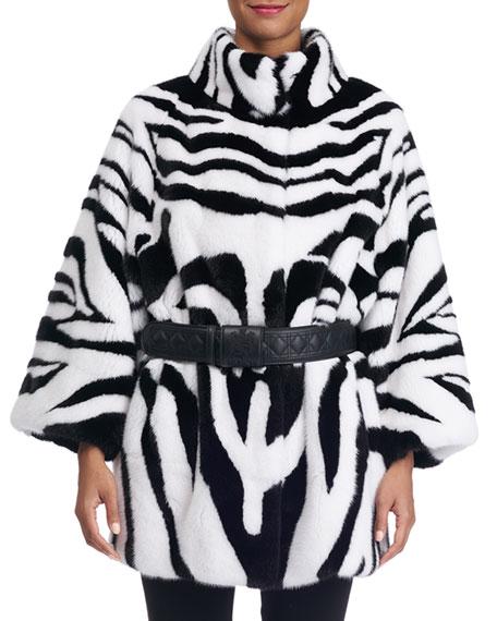 Zebra-Print Mink Fur Coat with Belt