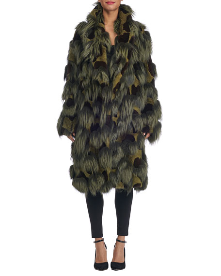 Michael Kors Collection Oversized Mixed Fur Coat