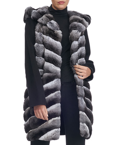 Hooded Chinchilla Parka with Knit Trim