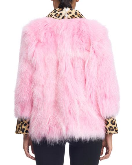 Fox Fur Jacket with Leopard-Print Collar