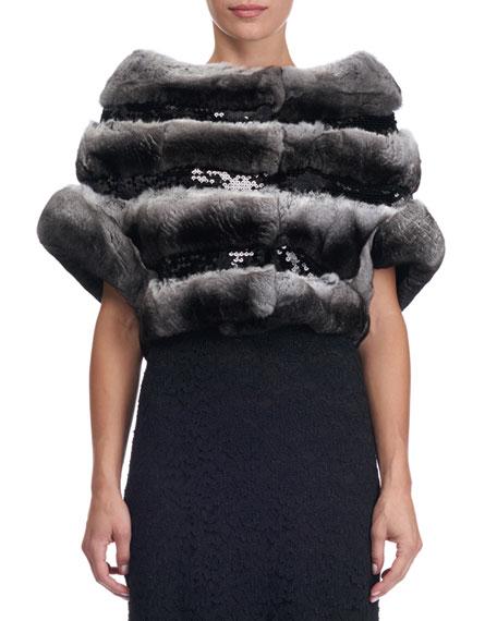 Sequin-Embellished Chinchilla Fur Bolero