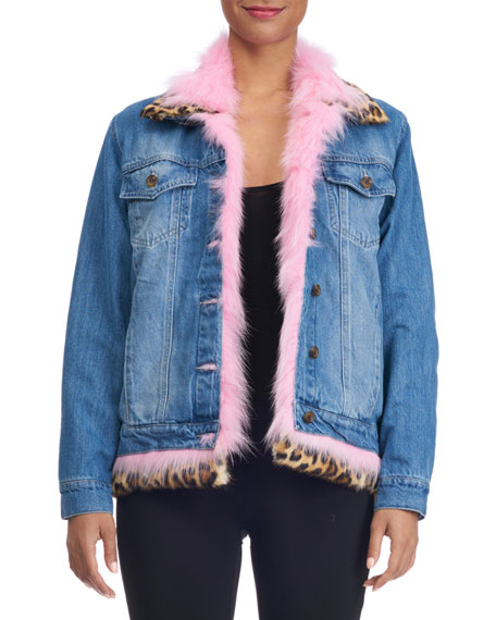 Denim Jacket with Fur Lining