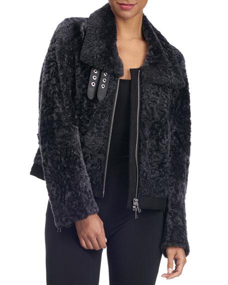 Shearling Fur Zip-Front Jacket