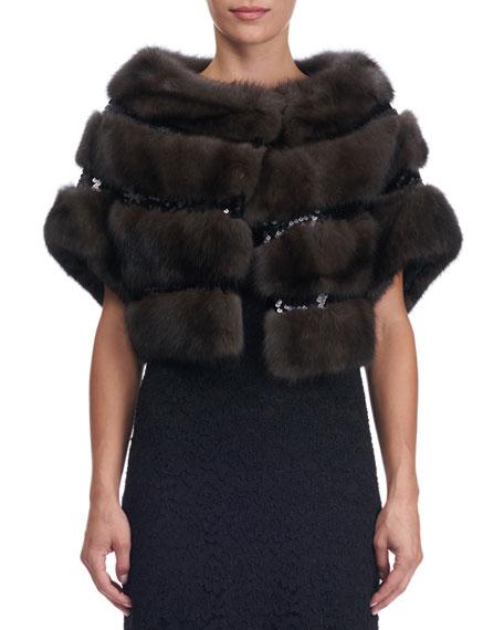 Sequined Sable Fur Bolero