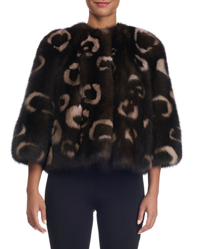 Sable Fur Leopard-Intarsia Collarless Bolero Jacket