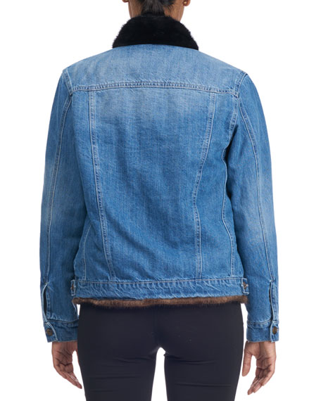 Reversible Denim Jacket with Mink Fur Trim