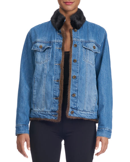 Simonetta Ravizza Reversible Denim Jacket with Mink Fur