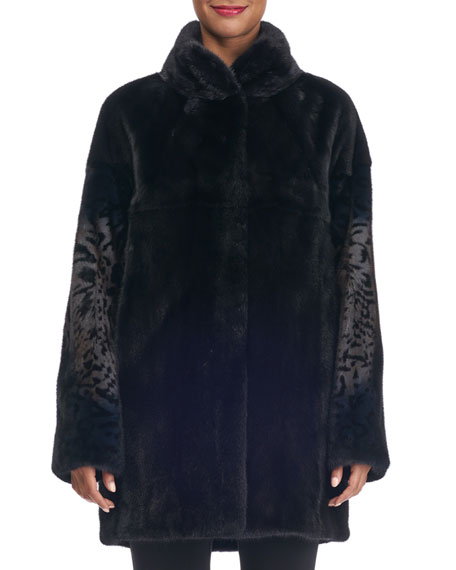Mink Fur Stroller Coat with Animal Print