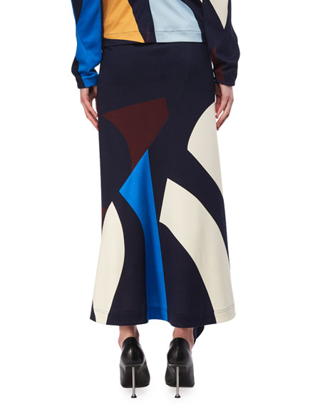 Asymmetric Abstract-Print Midi Skirt