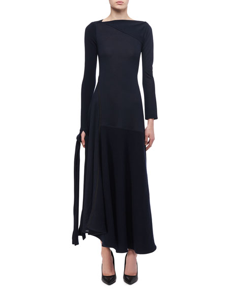 Victoria Beckham Paneled Tie-Detail Midi Dress