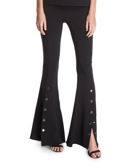 Emma Flared High-Waist Snap Pants