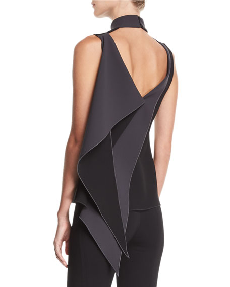 Carlotta Sleeveless Draped-Back Top