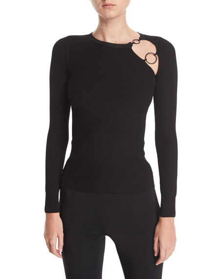 Cushnie Et Ochs Sienna Knit Cutout Long-Sleeve Top