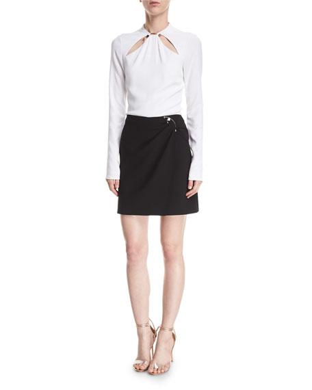 Wrap-Front Mini Skirt