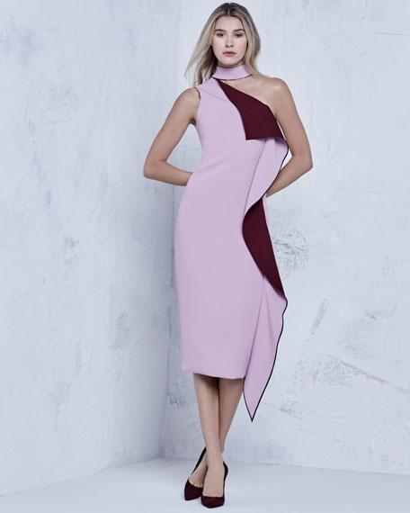 Ruffled One-Shoulder Midi Dress