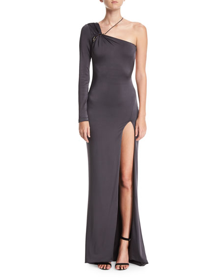 Cushnie Et Ochs One-Shoulder Gloss Jersey Gown