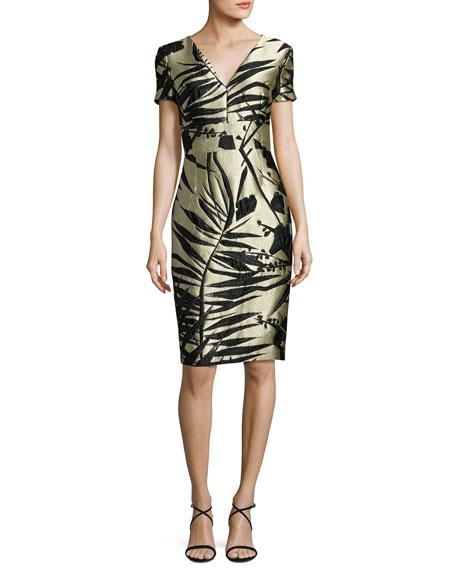 Escada Leaf-Jacquard Short-Sleeve Dress