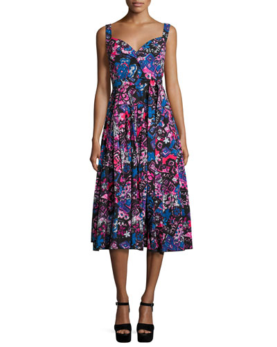 Daisy-Doodle Sleeveless Midi Dress, Black/Multi