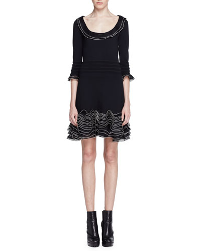3/4-Sleeve Knit Ruffle-Hem Dress, Black