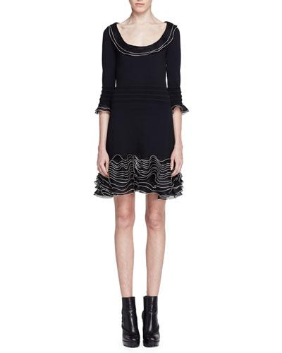 3/4-Sleeve Knit Ruffle-Hem Dress, Black