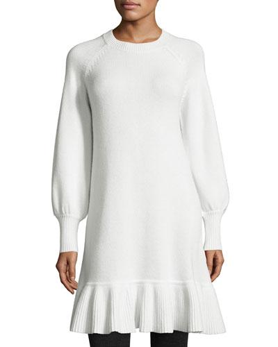 Long-Sleeve Ruffled-Hem Sweaterdress