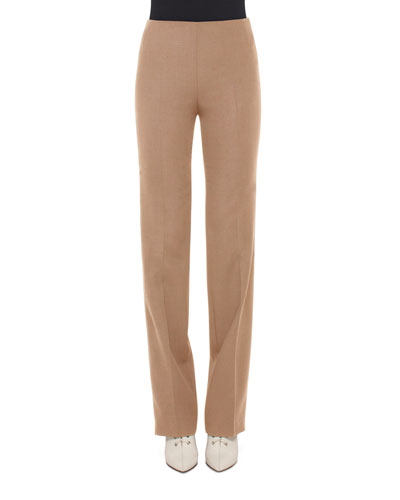 Carol Classic Flat-Front Pants, Camel