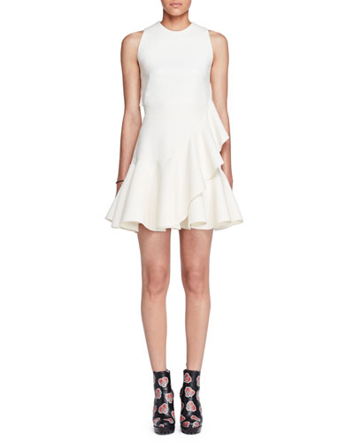 Sleeveless Ruffle-Trim Scuba Dress, Ivory
