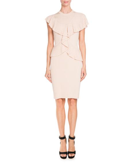 Pleated-Ruffle Sleeveless Sheath Dress, Skin