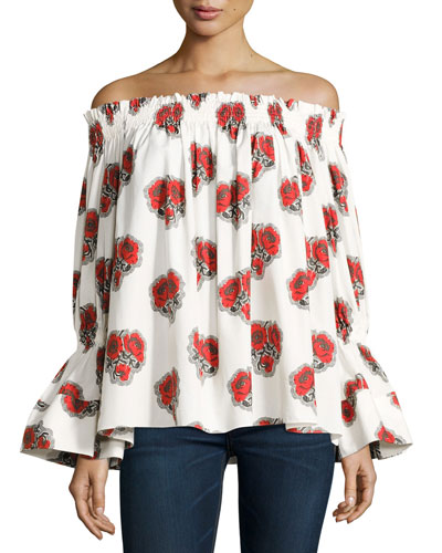 Poppy Off-the-Shoulder Bell-Sleeve Cotton Top