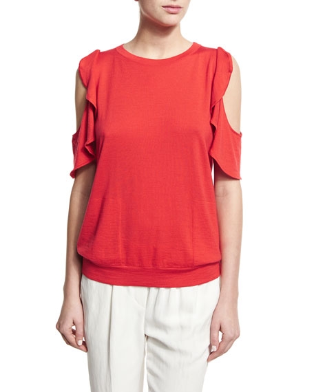 Brunello Cucinelli Ruffled Cold-Shoulder Knit Top
