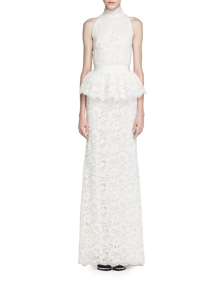 Alexander McQueen Mock-Neck Floral Lace Peplum Gown, Ivory