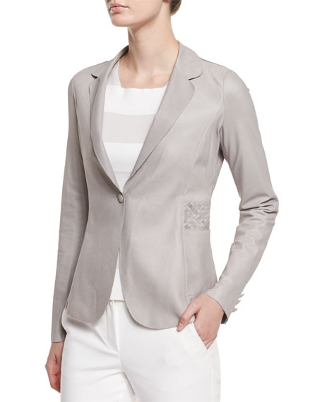 Long-Sleeve Leather Blazer, Light Gray