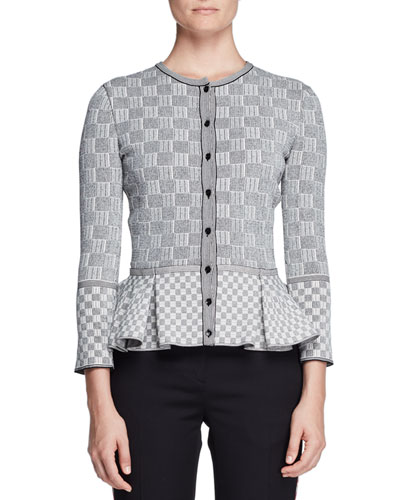 Check Tweed Peplum Cardigan, Black/White