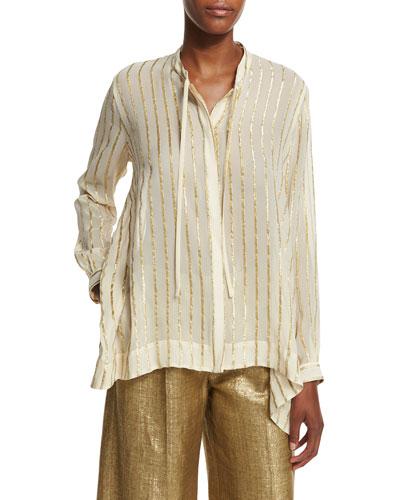 Striped Asymmetric-Hem Blouse, Ivory/Gold