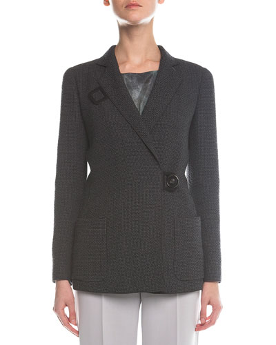 Check-Textured Button-Toggle Coat