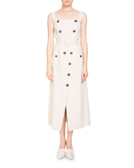 Audrey Pinstripe Apron-Front Belted Midi Dress w/ Button Trim