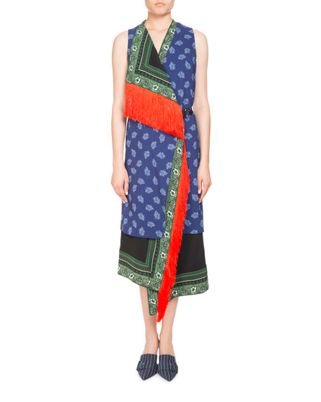 Altuzarra Bina Sleeveless Mixed-Print Faux-Wrap Dress w/ Fringe