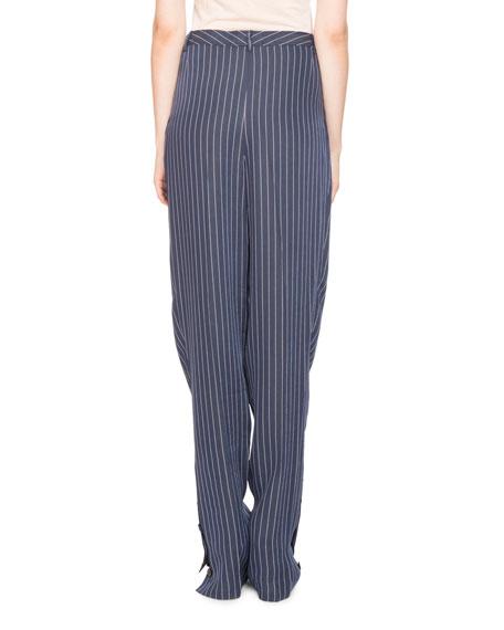 Lidig High-Waist Pinstripe 2-Pleat Straight-Leg Trousers