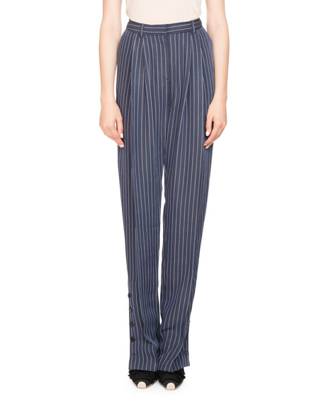 Lidig High-Waist Pinstripe 2-Pleat Straight-Leg Trousers