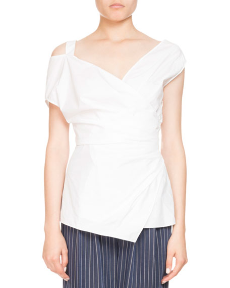 Altuzarra Vona Sleeveless Poplin Wrap Top