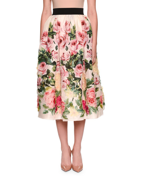 Dolce & Gabbana Rose-Print Full Organza Tea-Length Midi