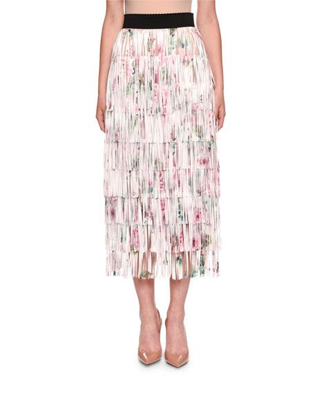 Dolce & Gabbana Fringed Rose-Print A-line Tea-Length Skirt