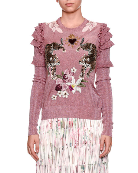 Dolce & Gabbana Fringed Rose-Print A-line Tea-Length Skirt