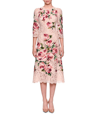 3/4-Sleeve Rose Embroidery Heavy Lace Midi Cocktail Dress