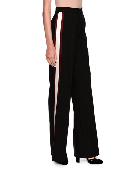 Wide-Leg Side-Stripe Wool Pants
