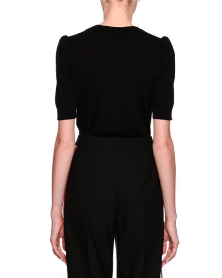 Short-Sleeve Scoop-Neck Knit Top w/ Heart Applique