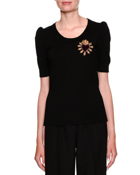 Short-Sleeve Scoop-Neck Knit Top w/ Heart Applique