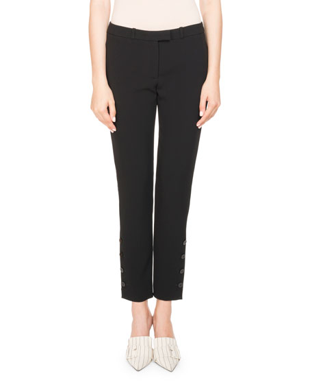 Tristan Mid-Rise Slim-Leg Cropped Trousers, Black