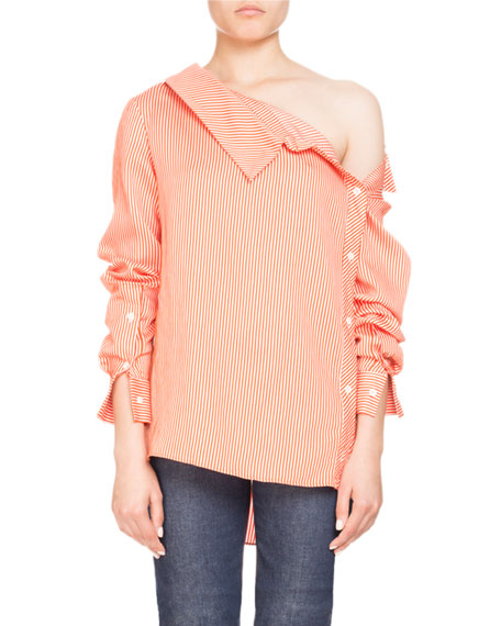 Eileen One-Shoulder Pinstripe Long-Sleeve Blouse