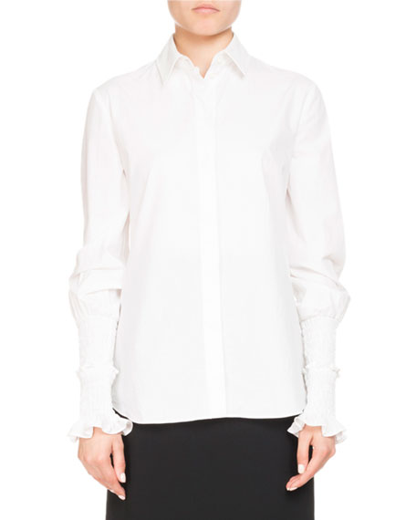 Jorda Button-Front Smocked Ruffle Cuffs Poplin Blouse